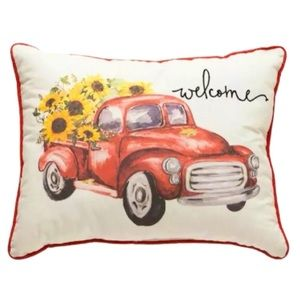 Ashland Fall Pillow Red Truck & Welcome Sunflowers
